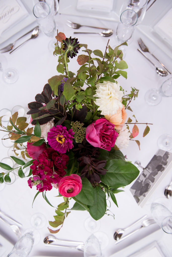 greenery, fuschia, pink and cream centerpiece new york wedding planner statuesque events