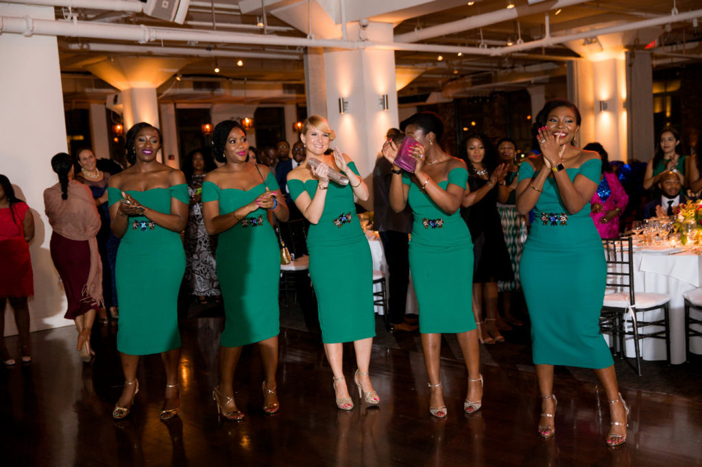 bridesmaids in green knee length dresses new york city wedding planner statuesque events