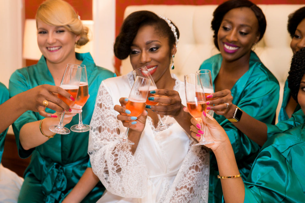 black bride and bridesmaids new york city wedding planner statuesque events
