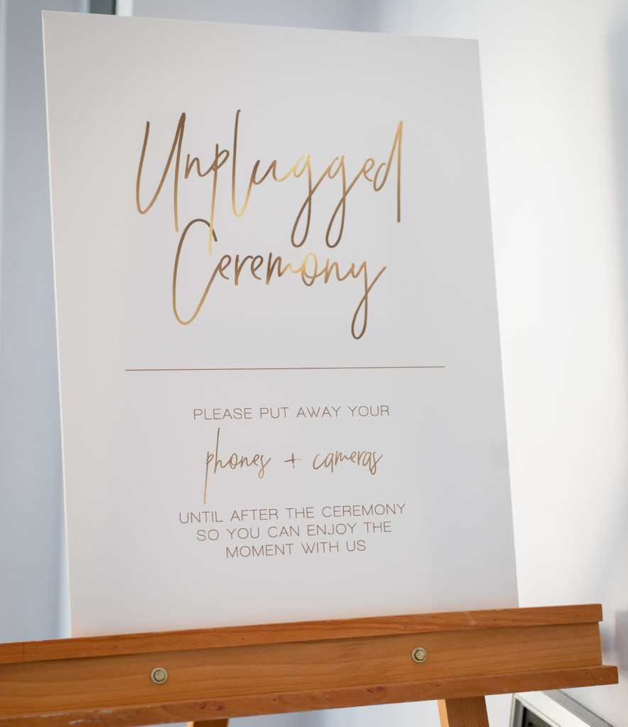 unplugged wedding ceremony sign maryland wedding planner statuesque events