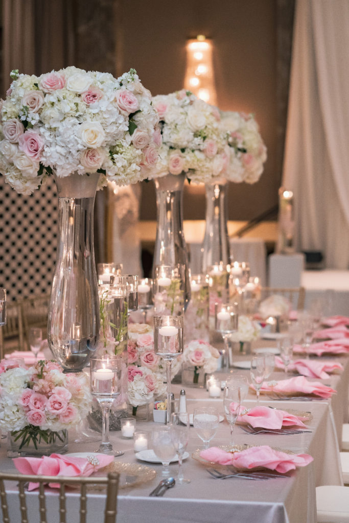 luxury blush wedding centerpieces estate table statuesque events washington dc wedding planner