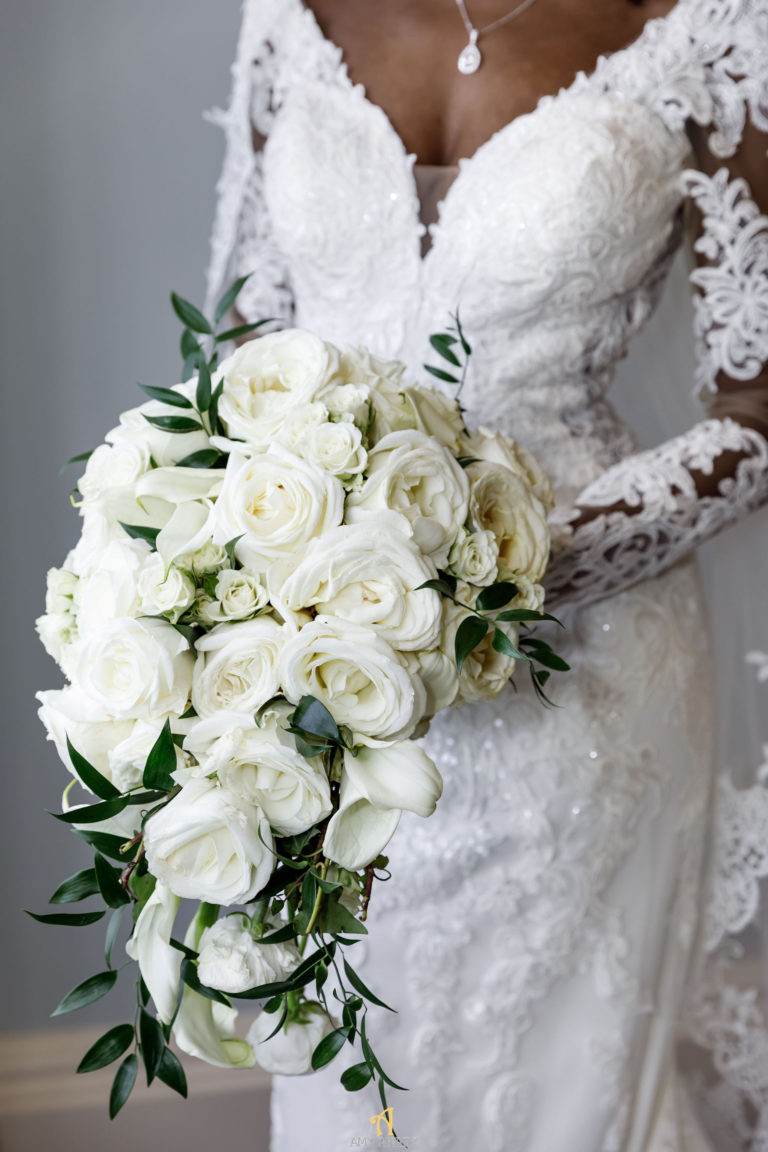 all white bouquet statuesque events