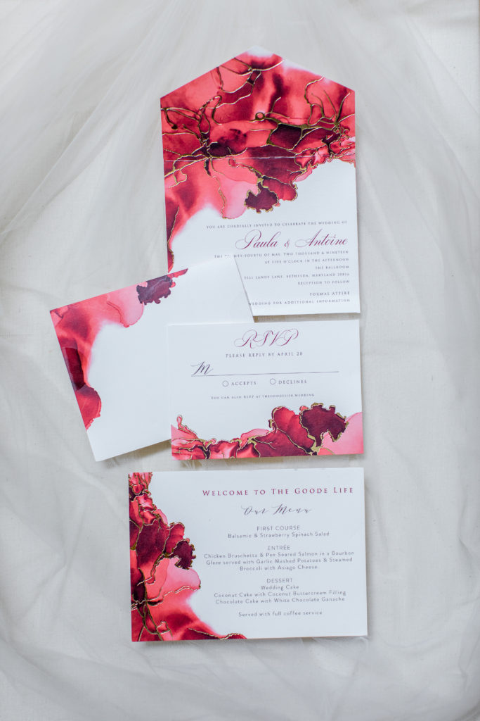 red and white wedding invitations statuesque events