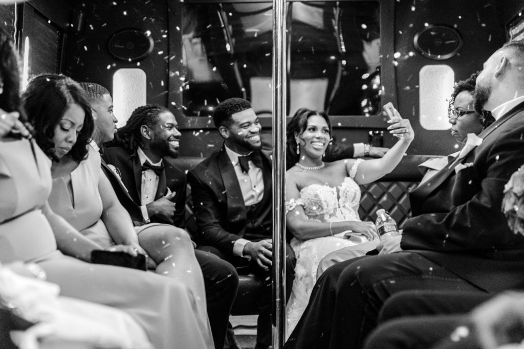 bridal party in party bus statuesque events