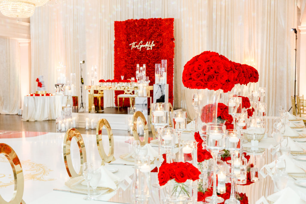 red white and gold wedding decor in Bethesda Maryland statuesque events
