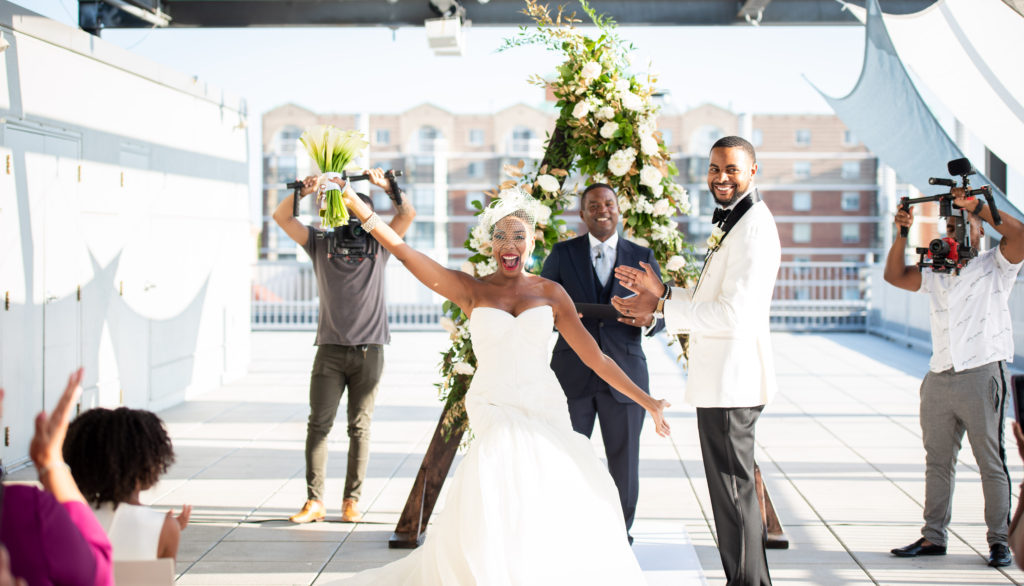 triangle wedding ceremony arch maryland rooftop wedding statuesque events
