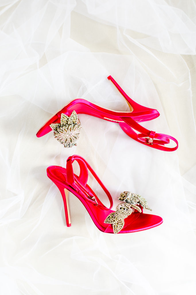 Pink wedding shoes statuesque events