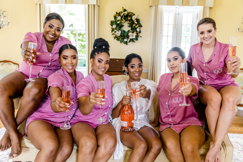 Bridesmaids and champagne statuesque events