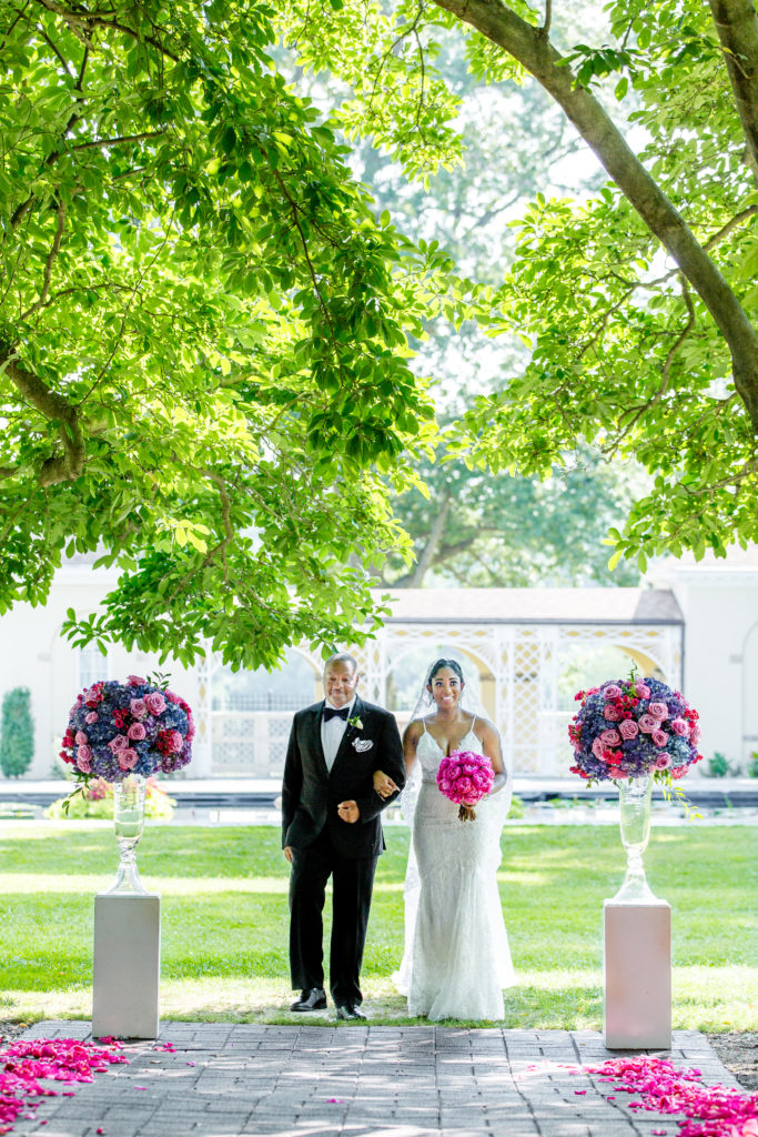 Bride and father outdoor wedding maryland statuesque events