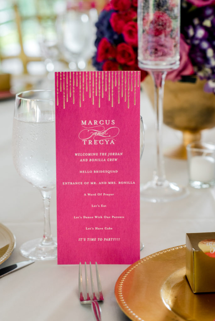 Fuschia wedding menu card statuesque events