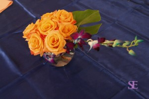 rose and orchid centerpiece