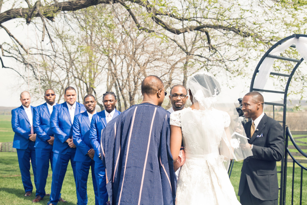 Blue Groomsmen suits Crystal and Jay wedding ceremony at Walker's Overlook by Asa Photography Statuesque Events Wedding Planning