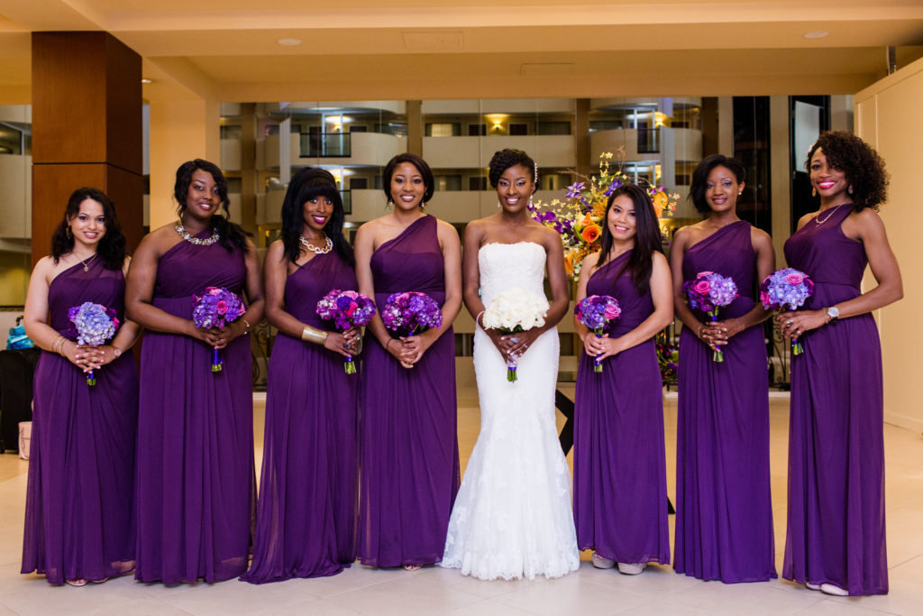 bridesmaids in purple nigerian wedding planner washington dc maryland virginia